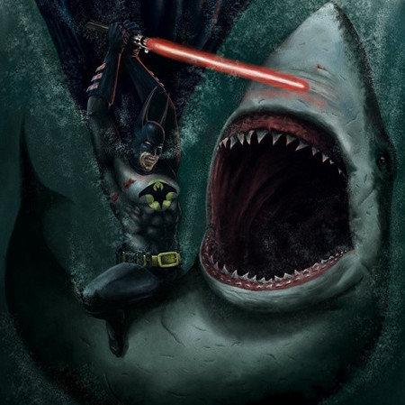 BATMAN. make sense . batman epic Shark lol You Lost the game who reads These anyway