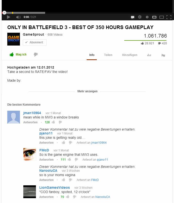 "Battlefield 3. . ONLY IN BATTLEFIELD 3 - BEST OF 350 HOURS GAMEPLAY EDS Videos 1 061 786 1 avian d Magica ' Into Tellen Hnnrph. agen .11.: ""ts Take a RATE/ FAV  ha"
