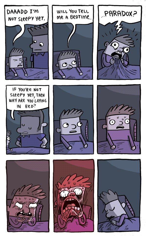 Bedtime Paradox. deds to gunshowcomic.com. Damon PM NUT VET. BEEF? mm. Wu TELL.. holy which way do i read it Gunshow bedtime paradox