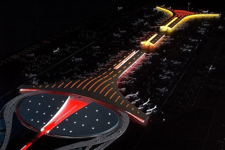 Beijing Airport at night. . Beijing Airport at night