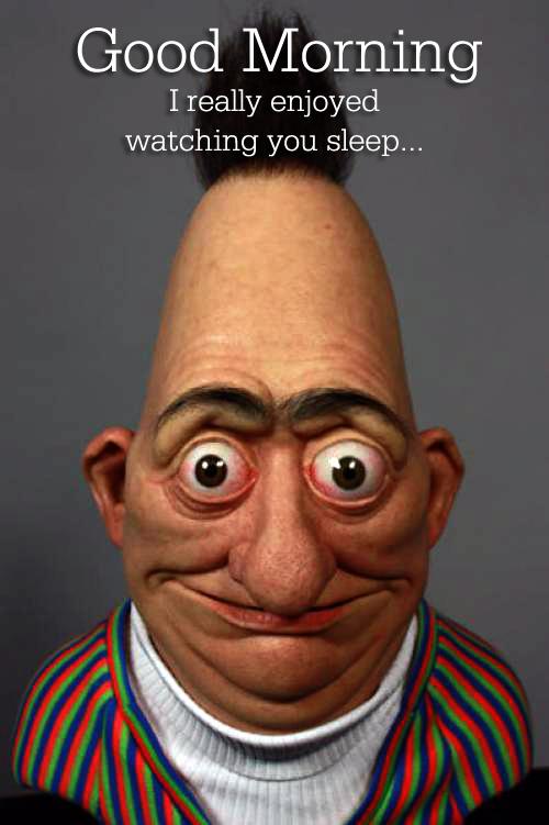 Bert!!!!!!!!!. . Chic) Morning I really enjin/ ed watching you sleep.... jokes on you, I didn't sleep. Sesame Street