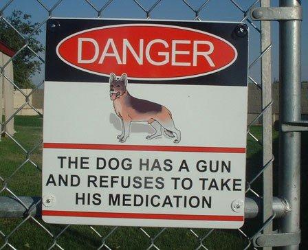 Beware of Dog. O_O Oh .. And he's seen some beware of Dog gun medication danger sign