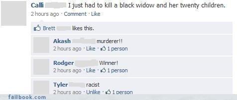 black widow. . Cam most had to kills black widow and her twenty children. chours ago Comment Like sh Brett likes this. Akish murderer!! 2 hours ago . Like . , I black Widow spider Racist facebook failbook