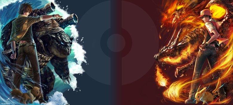 Blue vs Red Wallpaper!. Blue versus Red, Nuff Said.. red has venusaur & eevee green has charizard no eevee. Pokemon blue red