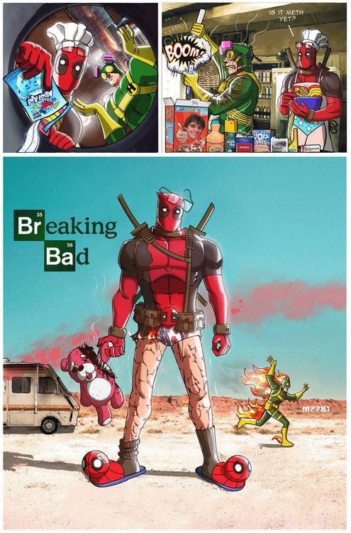 Breaking DeadPool. omfg! look ----->.. king of the bad? Deadpool breaking bad look at the tedd dawww