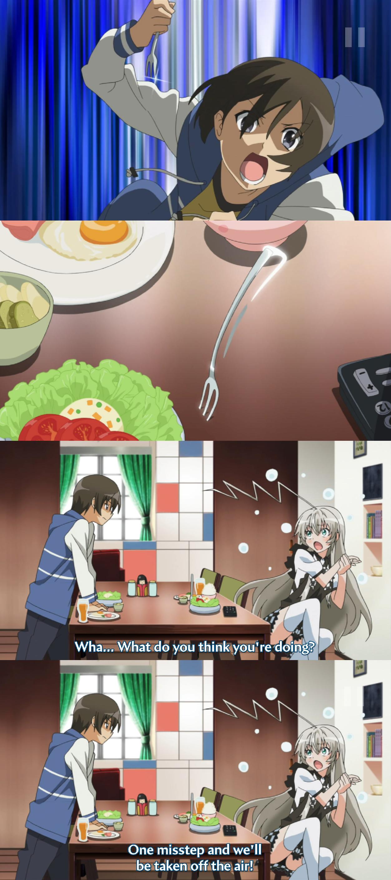 Breaking the 4th wall. source is Haiyore! Nyaruko-san. 4th Wall fork stab