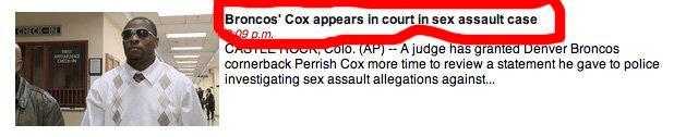 Bronco's Cox. . denver Broncos Cox court sex assault sexual