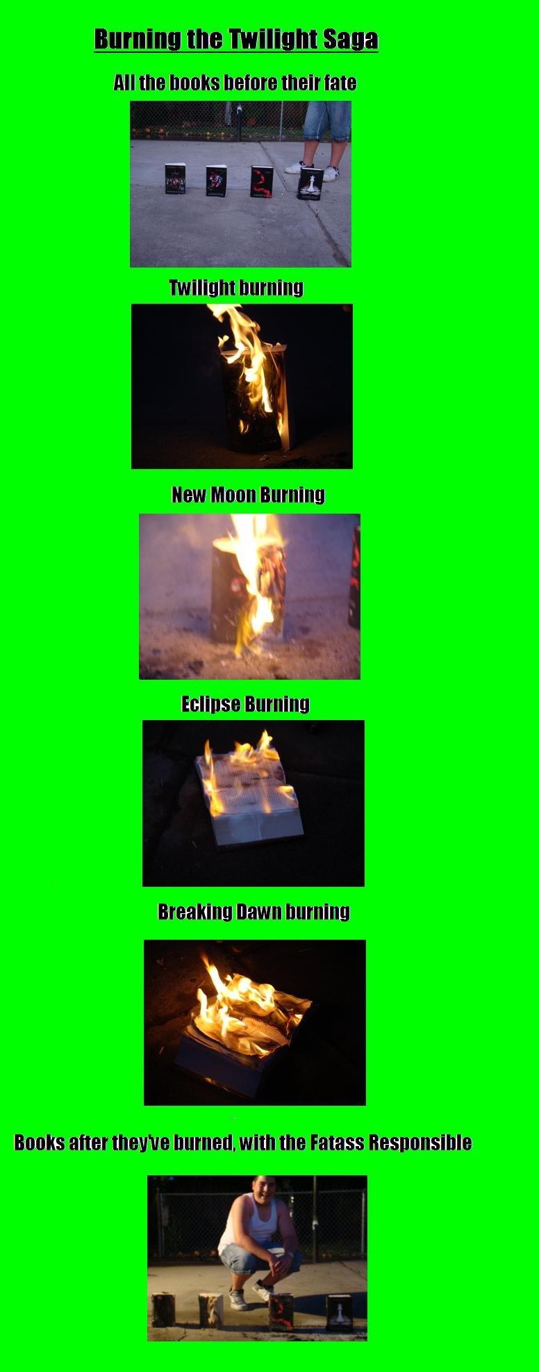 Burning Twilight!. I've seen people burn single books of Twilight, but I've never seen anyone burn the whole series. My nephew got the whole series for free fro twilight burn fire Evil edward bella jacob saga free