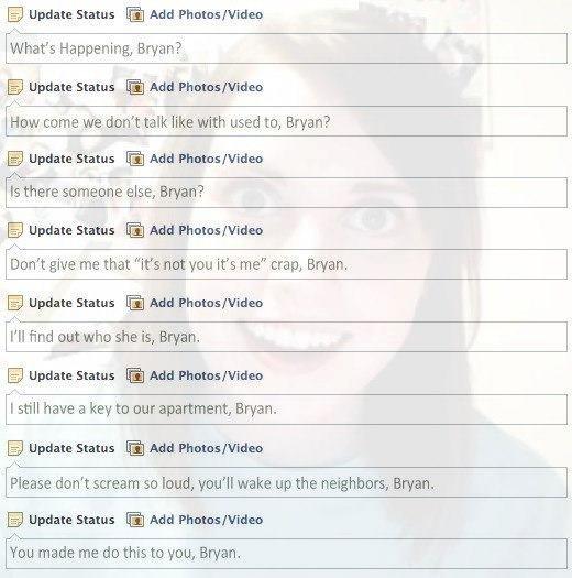 Facebook, what're ya doin'?. No, Facebook please don't. Update Status Add What' s Happening, Ewan? 1 Tiedat. e Status ...ltot Adi. . dmins/. trad's How come WE  no please