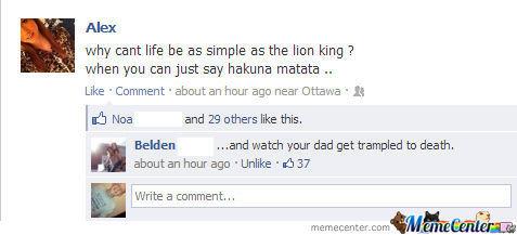 Facebook. . lion king hakuna matata dad trampled facebook