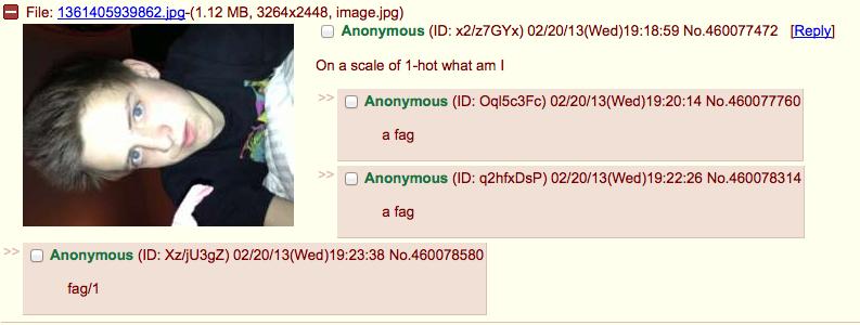 Fag. Not oc. Found on 4chaaaiinnnnnnn. MI File: . i -(1. 12 MB, 3264x2448, image/ pg) y On El scale of lahat what am I I Anonymous an ) ( : No. 460077760 a fag  so much Swag nigga