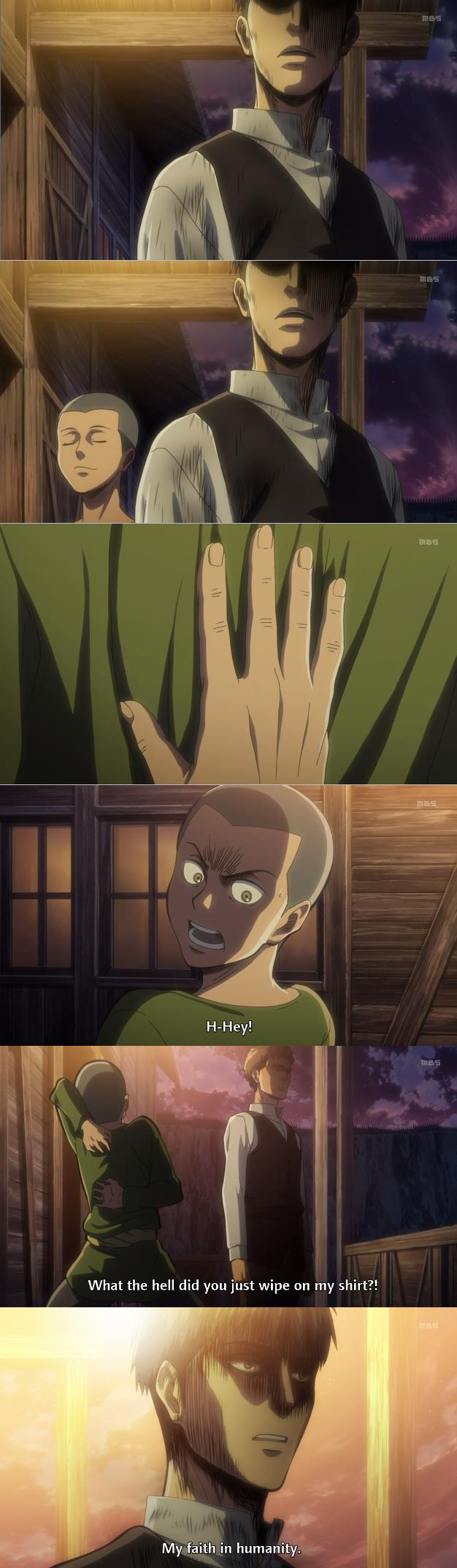 Faith in humaniy LV: Anime. source: Shingoki no kyojin.. This episode. Faith in humaniy LV: Anime source: Shingoki no kyojin This episode