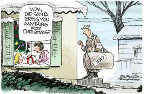 Feels. .. Santa got her Iraq? Christmas