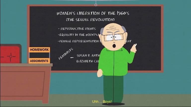 Feminist Movement. . E' ETH CAI south Park