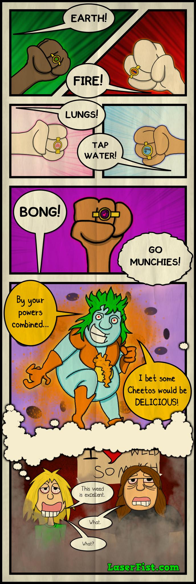 Figments of Voracity. By Josh Maynard, for LaserFist.com. comic webcomic Captain Planet cartoon weed Drugs Marijuana cheetos laserfist planeteers