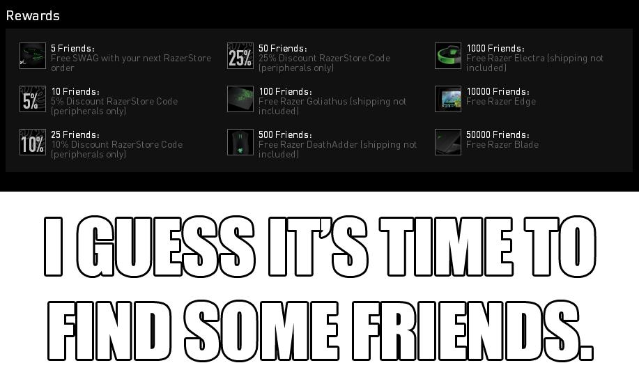 Finding friends. Link: www.razerzone.com/referral/invitecomm.... Rewards 5 Friends: 25)(, ED Friends: 1000 Friends: wjf, Befriends: 100 Friends: In. 10000 Frien Friends needed