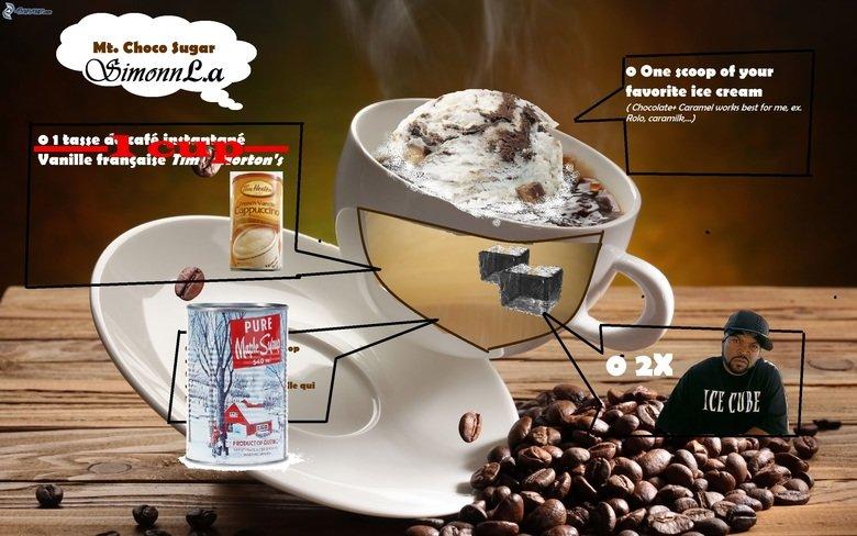FIRST O.C : MT. Choco Sugar!!!. Title says it all, its a recipe I kinda invented. Mi. Chou Sugar Lia one scoop of your Chocolates Caramel works best for me, ex. first OC new recipe Mt Choco Sugar paint skills