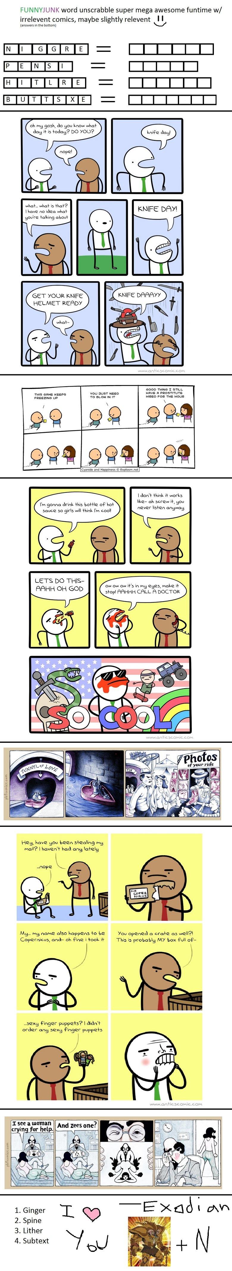 FJ funtime. =D. FUNNYJUNK word unscramble super mega awesome funtime w/ irrelevent comics, maybe slightly relevent I I bottom) E CHICKS Elli BIKES oh gosh, do y funtime