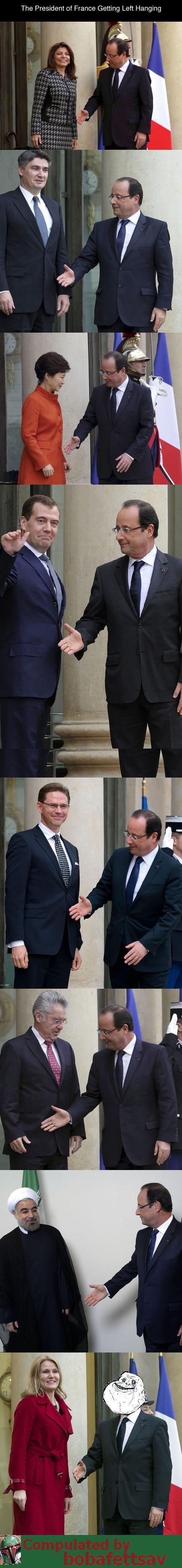 French President, François Hollande. . The President of France Getting Left Hanging French President François Hollande The of France Getting Left Hanging