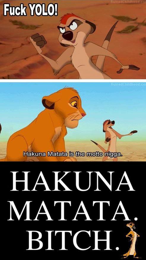 YOLO. 5 WORD MINIMUM... Hakuna Matata.. Whats a motto? Nothing what a motto with you? hakuna fucking matata bitch