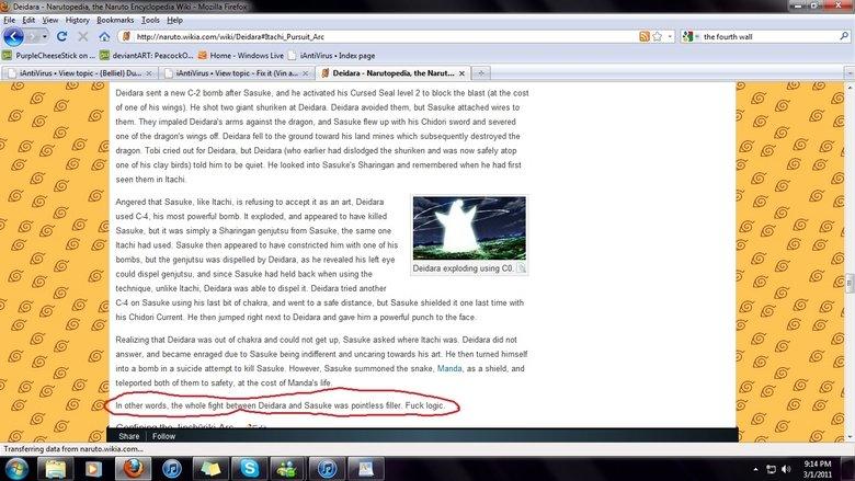 Fuck Logic. Trollin dem Narutards. My edit was erased 5 seconds after it was published.. narutards deidar