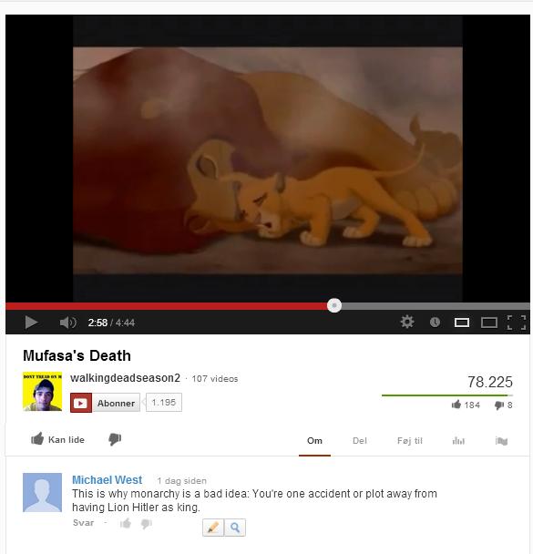 Fukken Scar. made me feel, then lol. Mufasa' s Death 1. 135 Linn Hitler as king. feel Lion lion king scar Hitler lion hitler youtube mufasa death