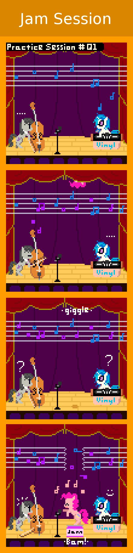 "Jam Session. via zztfox.deviantart.com/art/Jam-Session... Octavia: ""Vinyl, you are suppose to be taking these practice sessions VERY seriously!!"" Viny My Little Pony retro pony pixel octavia Vinyl scratch dj pon3 Pinkie Pie comic jam"