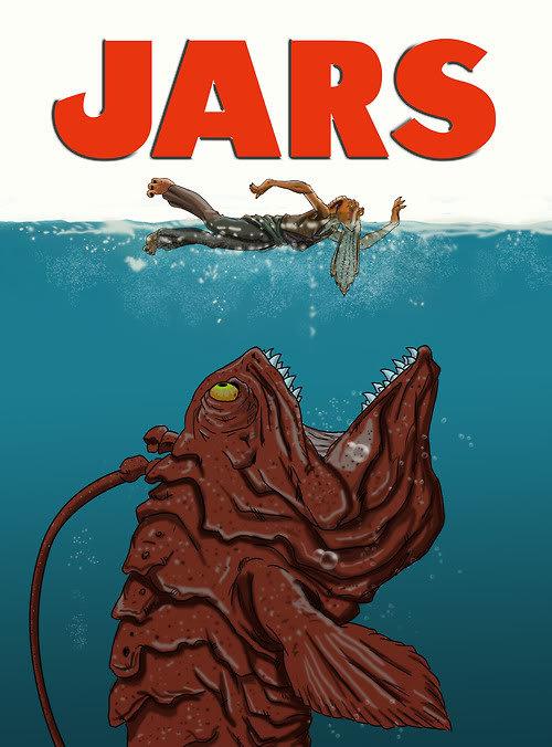 Jar Jar Jaws. lol mashup. Jar Jar Binks Jaws
