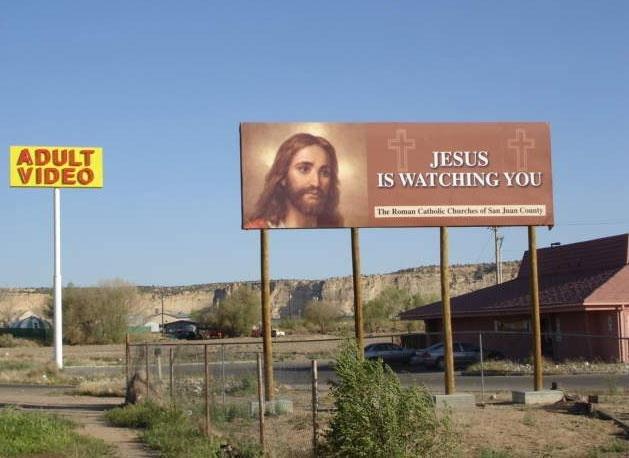 Jesus is Watching.... .. And enjoying himself too. funny road signs Jesus FUNNYJUNK