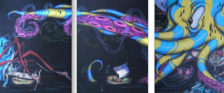 """Journey"" artwork of mine enjoy.. www.facebook.com/adamrhodesartwork thanks.. These are absolutely beautiful. dark color Art artwork creepy octopus spider Boat jellyfish"