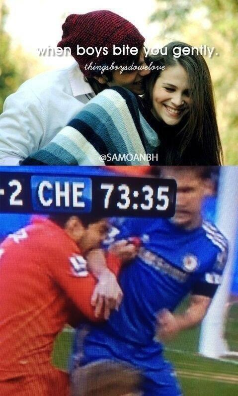 Naughty Suarez!. Love him really, not mine saw on facebook.. ikr Naughty Suarez! Love him really not mine saw on facebook ikr