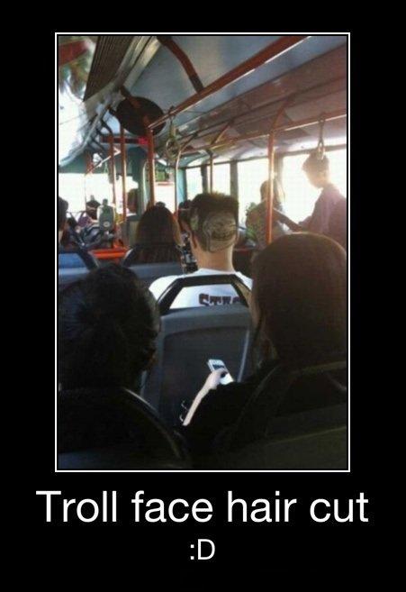Nice Hairdo. that is one skilled barber.. Troll face hair cut troll face haircut