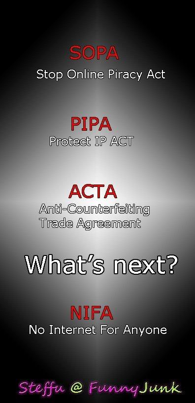 NIFA. . Stop Online Piracy Act AHA Internet For Anyone. ACTA = Anal Clapping Thigh Act NIFA Stop Online Piracy Act AHA Internet For Anyone ACTA = Anal Clapping Thigh