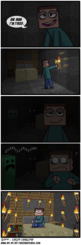 Night time. Those damn creepers.. creepers Minecraft ssssssssssssssss