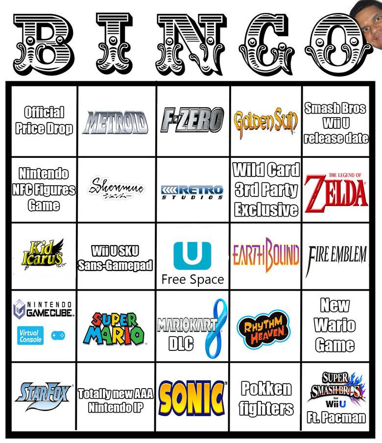 Nintendo E3 2014 Bingo. View the updated Microsoft Bingo card here: /channel/videogames/UPDATED+Microsoft... (Cross-Posting from Imgur) My body is Reggie. I've  Nintendo E3 Video Games 2014 bingo