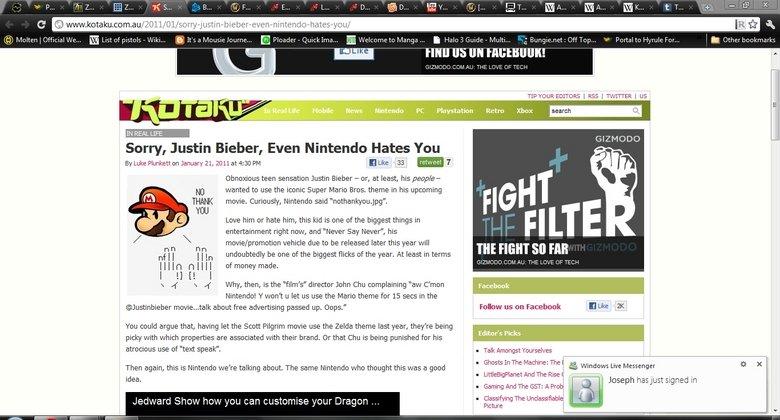 Nintendo gained over 9,000.. Win!<br /> www.kotaku.com.au/2011/01/sorry-justi.... Sorry, Justin Bieber, Even Nintendo Hates You By Luke January as zen PM  nintendo justin