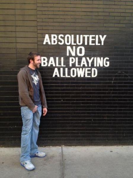 No ball playing. . PLAYING No ball playing PLAYING