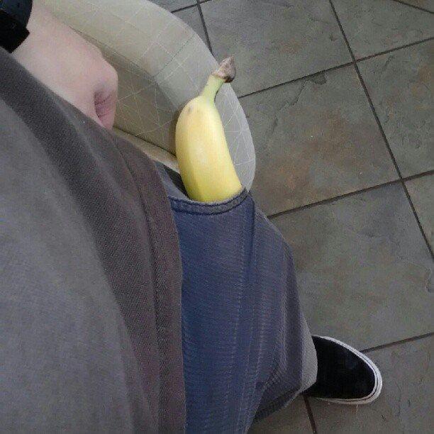 no, im just happy to see you. you gave me this banoner. banana pocket ha