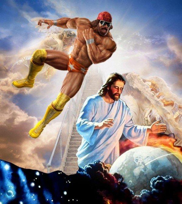 No Rapture on my watch! Oh yeah!. . Randy savage Rapture Jesus raptor
