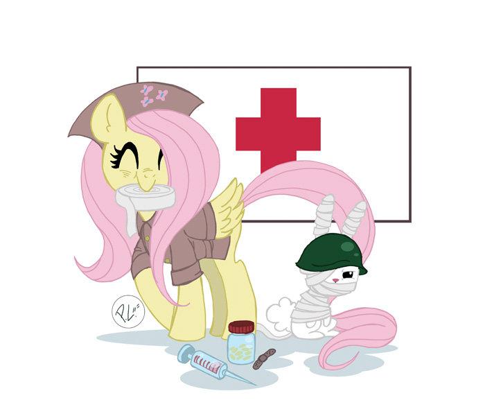 Nurse Fluttershy. here's fluttershy as a military nurse. Hooyah!.. Or Corpsman Fluttershy nurse Military ponies