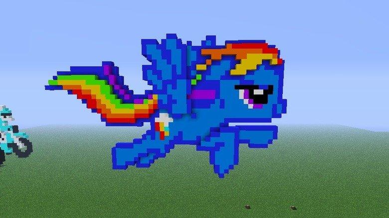 Rainbow Dash Minecreaft. Well, I felt my pixel art world needed to be about 20% cooler so I built Rainbow Dash. Not my style, a mix of like three I found VIA Go Rainbow dash Minecraft twenty percent c