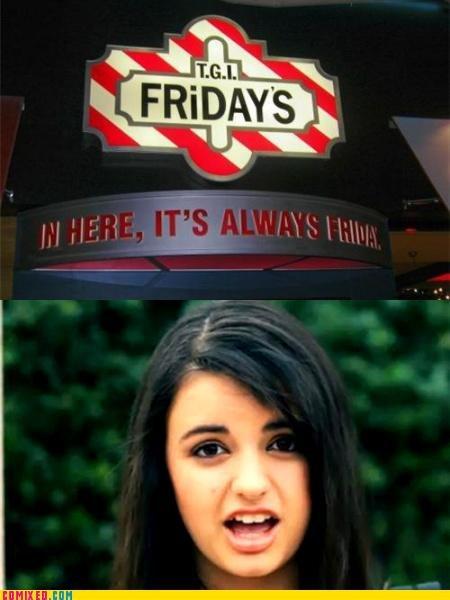Rebecca Blacks Heaven. All credit to Memebase/Comixed. Rebecca Black black rebecca friday