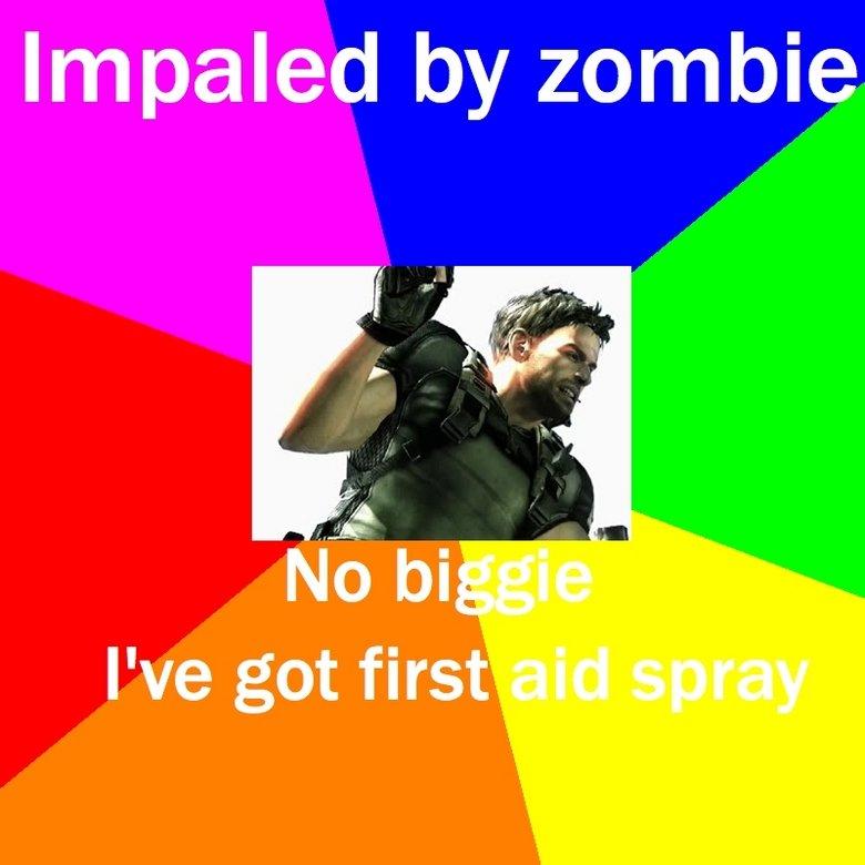 Resident evil 5. damn you red herbs. Impaled t: p/ Resident Evil Zombie chris redfield Sheva wesker