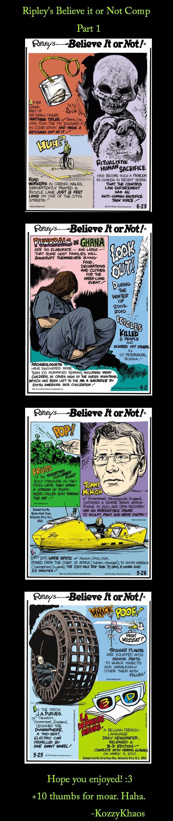Ripley's Believe it or Not Comp 1. <3 :] I've always loved Ripley's.<br /> /funny_pictures/1053259/Ripley+s+Beli.... Ripley' s Believe it or Ne ripley believe it or Not yay