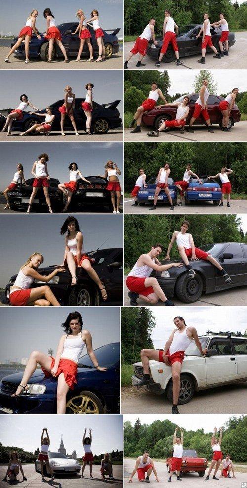Rockin' those poses. dem hotties. car girls