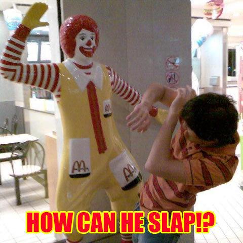 Ronald McDonald. The caption based on this link: www.youtube.com/watch?v=Kqm-5iR_kPI. McDonalds ronald clown hit