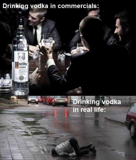 vodka. . Drinking vodka in commercials: vodka Drinking in commercials: