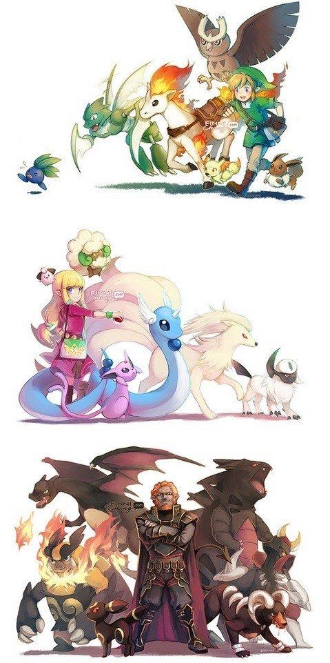 Zelda characters as Pokemon Trainers. Creators website: finnichang.tumblr.com/.. Zelda has one of my favourite pokemon, Scyther. Zelda characters as Pokemon Trainers Creators website: finnichang tumblr com/ has one of my favourite pokemon Scyther