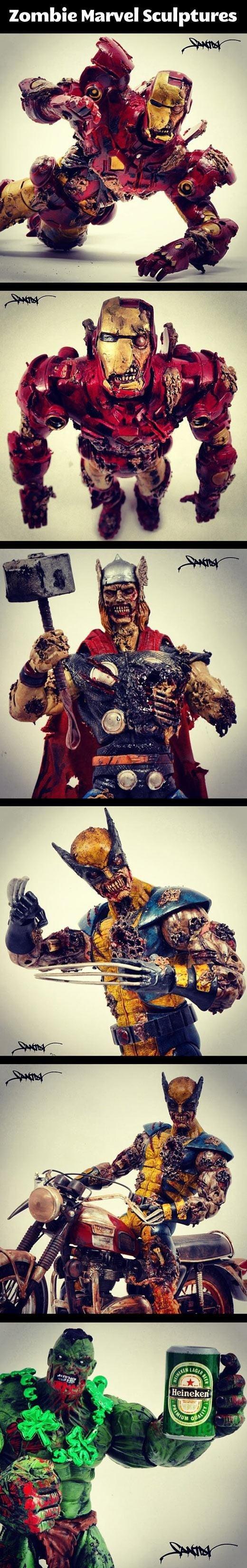 Zombie Marvel. . Zombie Marvel Sculptures. i kept hoping for deadpool... Zombie Marvel Sculptures i kept hoping for deadpool