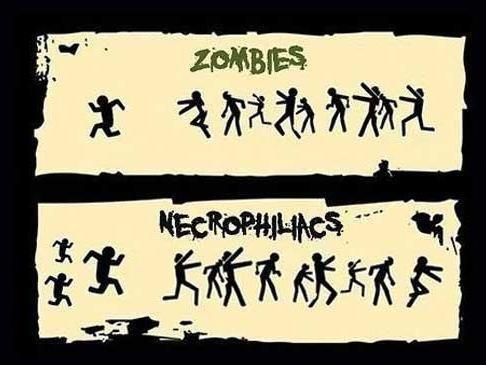 Zombies. Vs necros.. Necrophiliacs are attracted to the dead. Zombies are undead. Zombies are therefore un-the thing Necrophiliacs are attracted to. Zombies are unattractive to Necr duh zombies